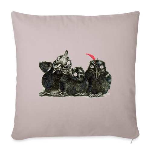 """Three Crows With Red Feather - Throw Pillow Cover 18"""" x 18"""""""