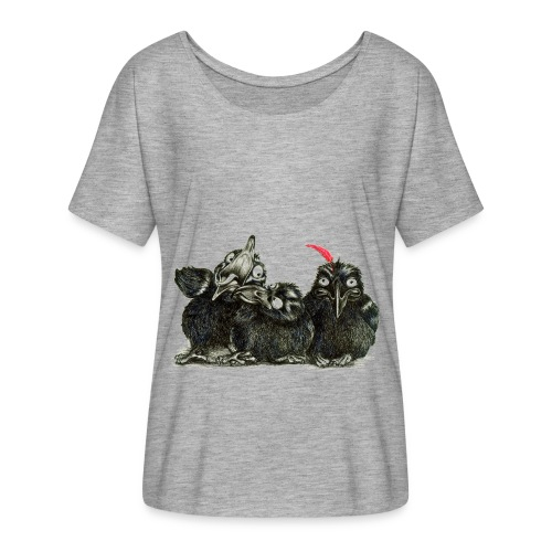 Three Crows With Red Feather - Women's Flowy T-Shirt