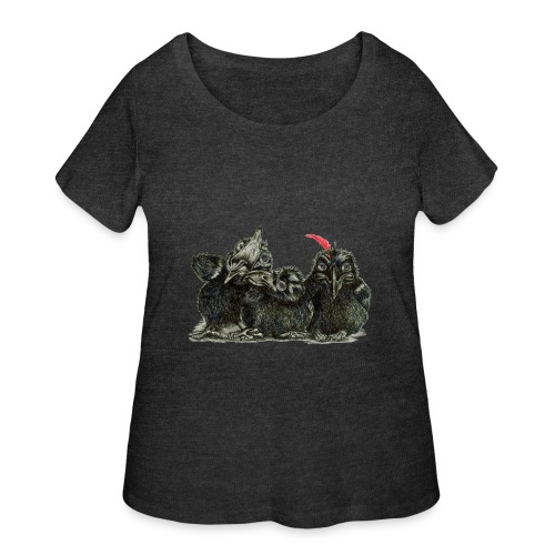 Three Crows With Red Feather - Women's Curvy T-Shirt