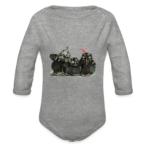 Three Crows With Red Feather - Organic Long Sleeve Baby Bodysuit