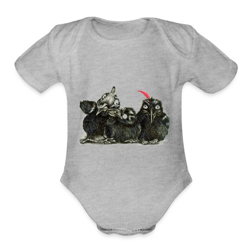 Three Crows With Red Feather - Organic Short Sleeve Baby Bodysuit