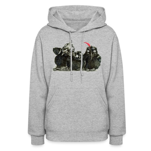 Three Crows With Red Feather - Women's Hoodie