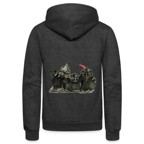 Three Crows With Red Feather - Unisex Fleece Zip Hoodie