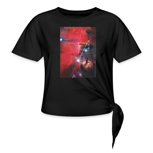 Night Sky Red-2 - Women's Knotted T-Shirt