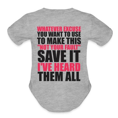 No Excuses Hoodie - Organic Short Sleeve Baby Bodysuit