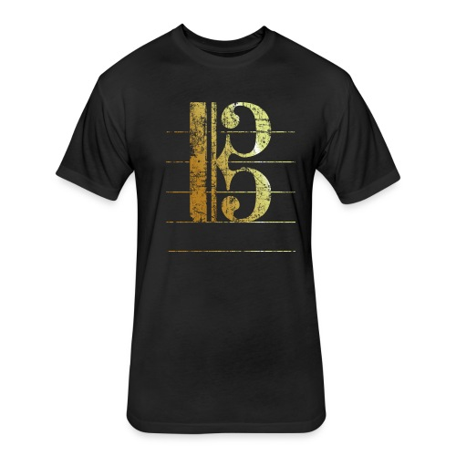 Tenor Clef T-Shirt (Ancient Gold) - Fitted Cotton/Poly T-Shirt by Next Level
