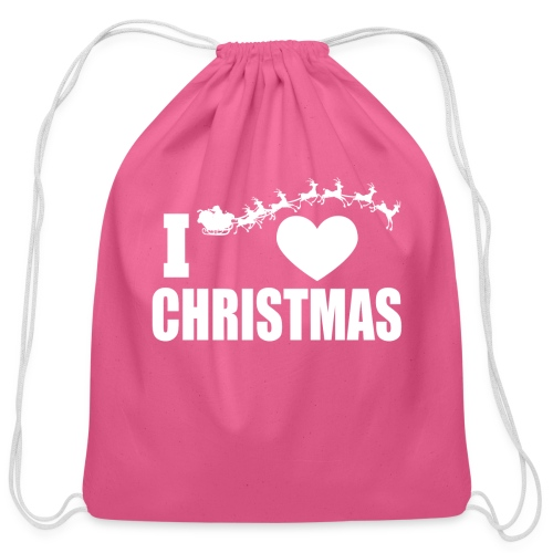 I Love Christmas  - Cotton Drawstring Bag