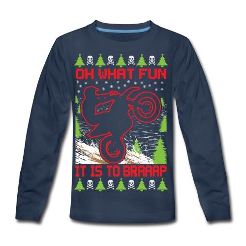 Ugly Christmas Dirt Bike - Kids' Premium Long Sleeve T-Shirt