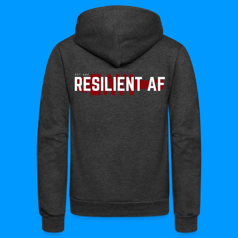 RESILIENT WHITE with red - Unisex Fleece Zip Hoodie