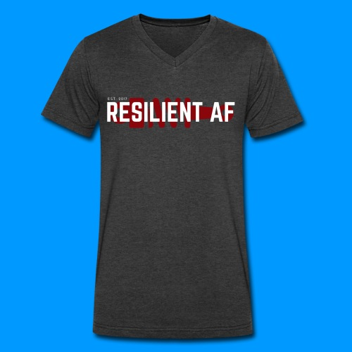 RESILIENT WHITE with red - Men's V-Neck T-Shirt by Canvas