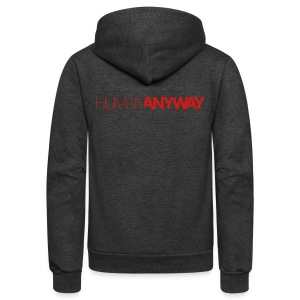 Human Anyway with Red Logo - Unisex Fleece Zip Hoodie by American Apparel