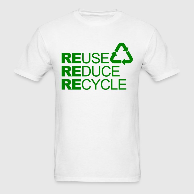 Go green Slogan Reuse Reduce Recycle Mens T-shirts - Men's T-Shirt