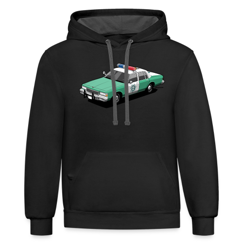 SD County Sheriff Department Vintage Police Car - Contrast Hoodie