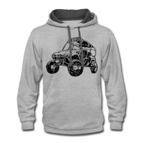 UTV side-x-side, distressed - Contrast Hoodie