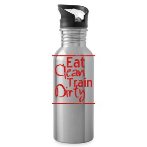 Eat Clean Train Dirty distressed gym workout athlete training shirt - Water Bottle