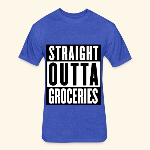 straight outta groceries  - Fitted Cotton/Poly T-Shirt by Next Level