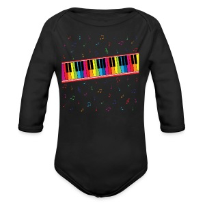 Colorful Piano - Long Sleeve Baby Bodysuit