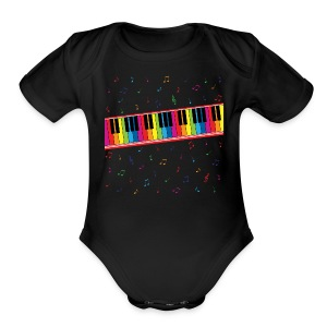 Colorful Piano - Short Sleeve Baby Bodysuit