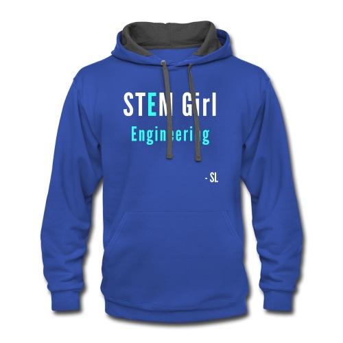 Women's STEM Girl Engineering T-shirt Clothing by Stephanie Lahart. - Contrast Hoodie