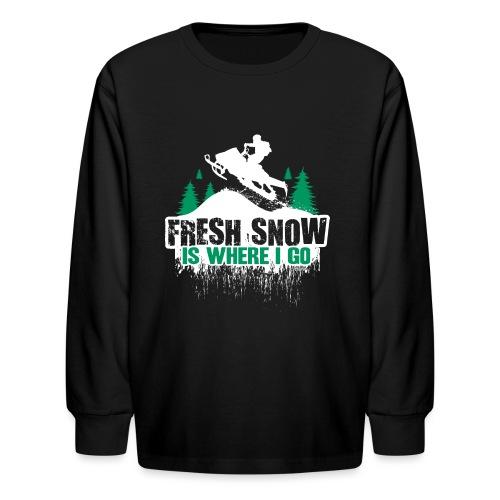 Fresh Snow Snowmobile - Kids' Long Sleeve T-Shirt