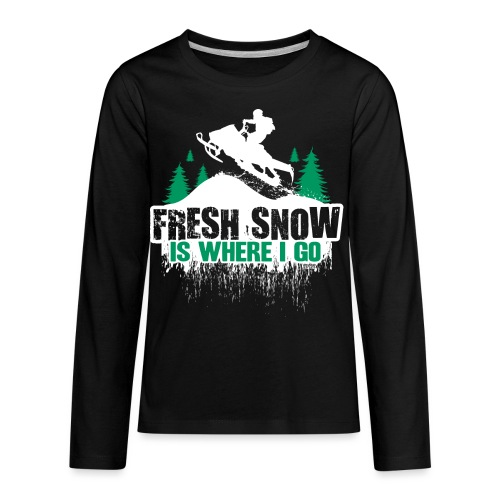 Fresh Snow Snowmobile - Kids' Premium Long Sleeve T-Shirt