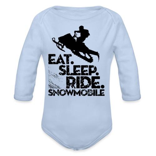 Eat Sleep Snowmobile - Organic Long Sleeve Baby Bodysuit