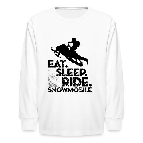 Eat Sleep Snowmobile - Kids' Long Sleeve T-Shirt