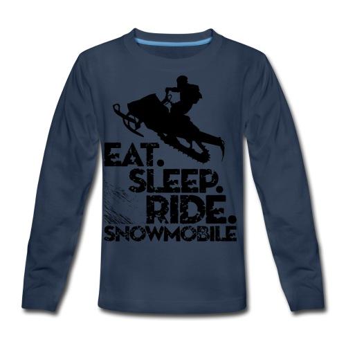 Eat Sleep Snowmobile - Kids' Premium Long Sleeve T-Shirt