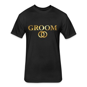 Groom Wedding Rings T-Shirt (Ancient Gold) - Fitted Cotton/Poly T-Shirt by Next Level