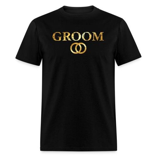 Groom Wedding Rings T-Shirt (Ancient Gold) - Men's T-Shirt
