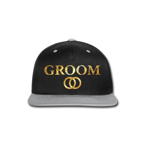 Groom Wedding Rings T-Shirt (Ancient Gold) - Snap-back Baseball Cap