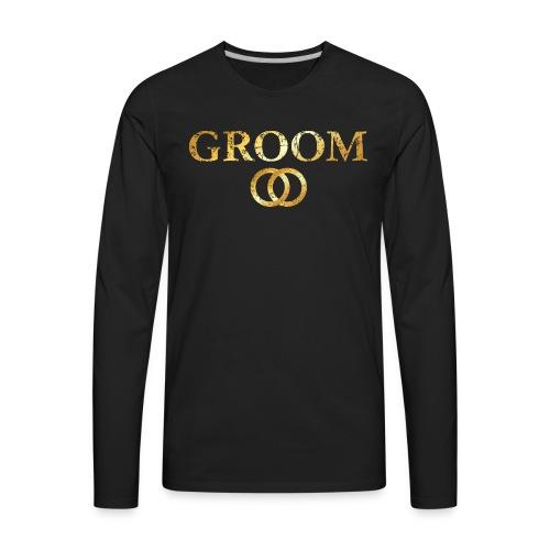 Groom Wedding Rings T-Shirt (Ancient Gold) - Men's Premium Long Sleeve T-Shirt