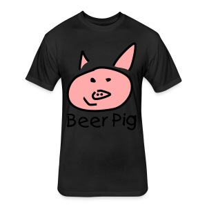 Beer Pig  - Fitted Cotton/Poly T-Shirt by Next Level