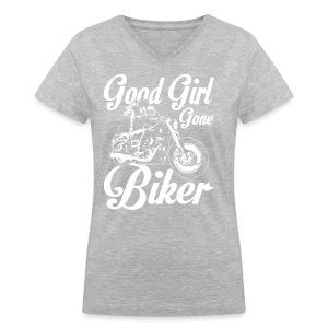 Good Girl Gone Biker - Women's V-Neck T-Shirt