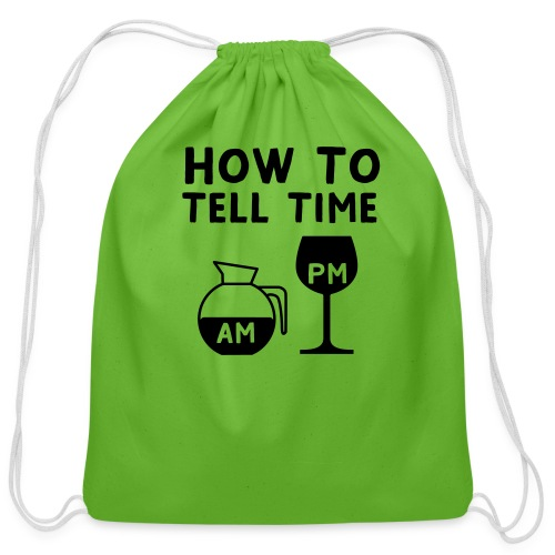 How to tell time - Cotton Drawstring Bag