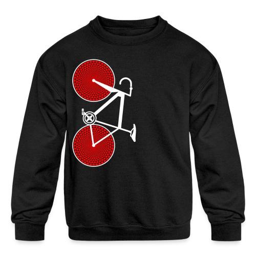 white road bike love hearts shirt - Kids' Crewneck Sweatshirt