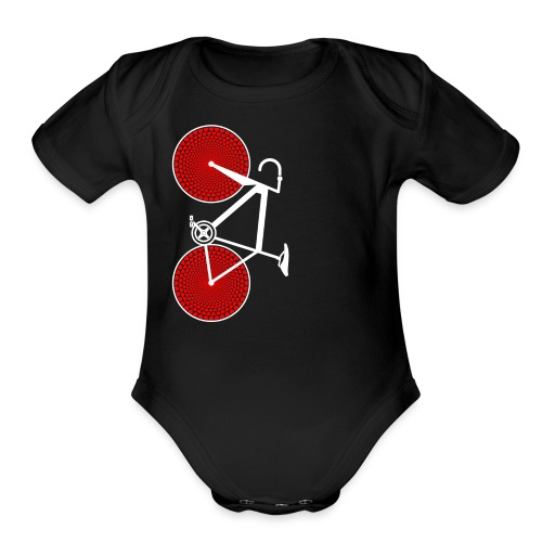 white road bike love hearts shirt - Organic Short Sleeve Baby Bodysuit