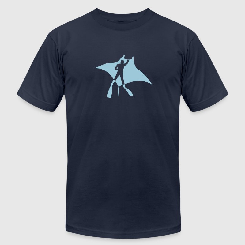 manta ray sting scuba diving diver dive fish ocean T-Shirts - Men's T-Shirt by American Apparel