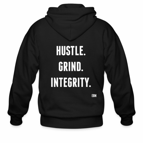 Black Men's HUSTLE GRIND INTEGRITY Slogan Quotes T-shirt Clothing by Stephanie Lahart - Men's Zip Hoodie