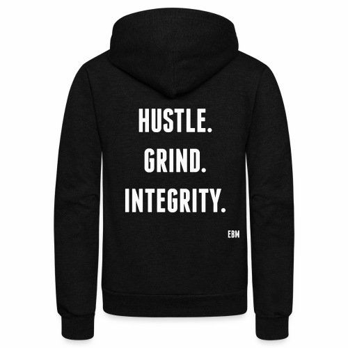 Black Men's HUSTLE GRIND INTEGRITY Slogan Quotes T-shirt Clothing by Stephanie Lahart - Unisex Fleece Zip Hoodie