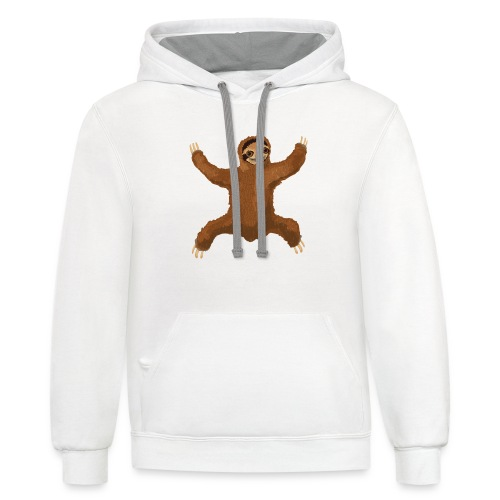 Sloth Love Hug 5 Large Buttons - Contrast Hoodie