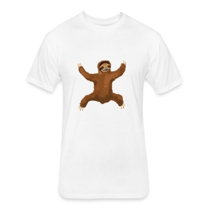 Sloth Love Hug 5 Large Buttons - Fitted Cotton/Poly T-Shirt by Next Level