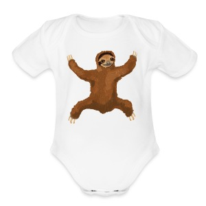 Sloth Love Hug 5 Large Buttons - Short Sleeve Baby Bodysuit