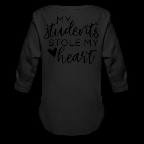 My Students Stole My Heart | Metallic Silver - Organic Long Sleeve Baby Bodysuit