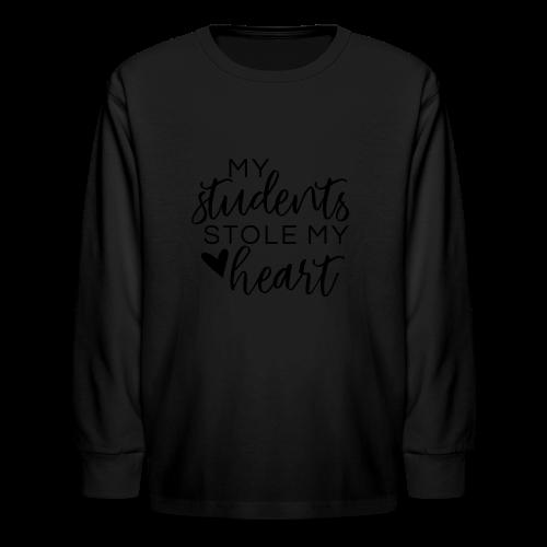 My Students Stole My Heart | Metallic Silver - Kids' Long Sleeve T-Shirt