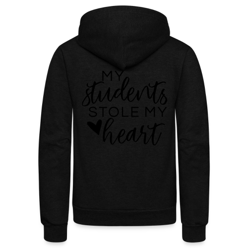 My Students Stole My Heart   Metallic Silver - Unisex Fleece Zip Hoodie