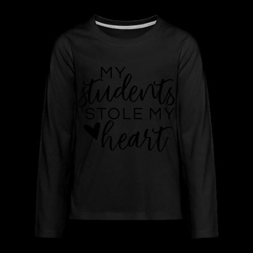 My Students Stole My Heart | Metallic Silver - Kids' Premium Long Sleeve T-Shirt