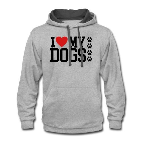 I Love my Dog shirt - Contrast Hoodie