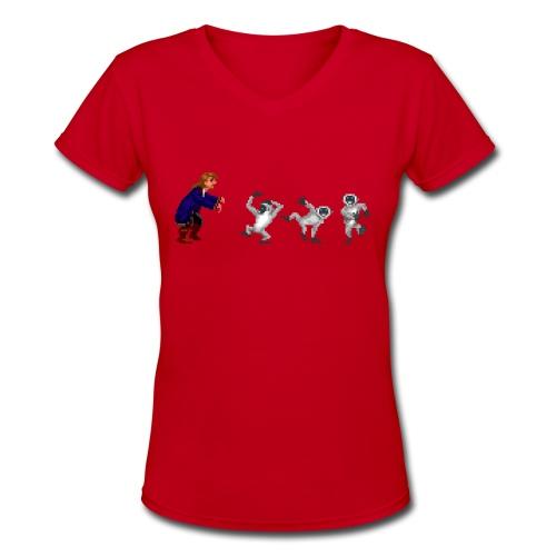 Monkey Guy(F) - Women's V-Neck T-Shirt