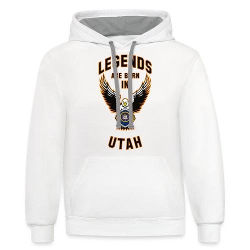 Legends are born in Utah - Contrast Hoodie